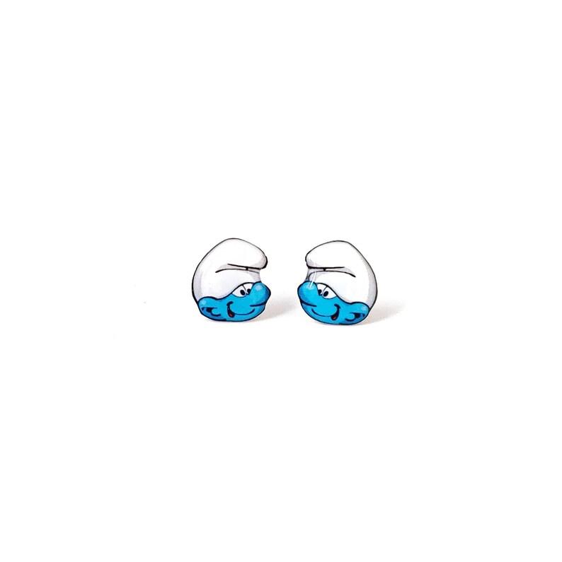 2cf5a6e11 Miniature Blue Smurf Stud Earrings miniature jewelry stud | Etsy