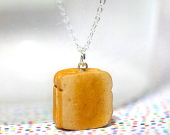 Miniature Food Necklace Grilled Cheese Sandwich with Sterling Silver Chain