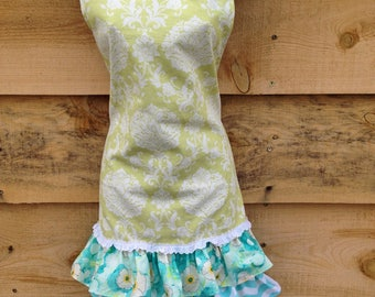 Turquoise and Green Ruffled Apron