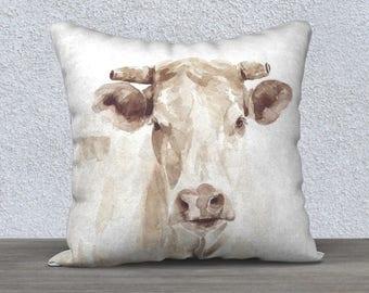 Cow Watercolor Linen Pillow Cover / Farm Decor / Farmhouse Pillow / Home Decor / Decorative Pillow / Farm Cow Pillow / gift for her