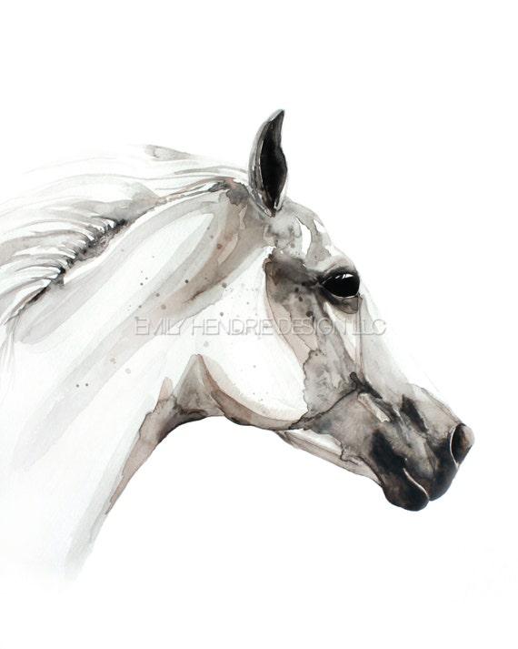 Cheval Pur Sang Arabe Aquarelle Tatouage Temporaire Peinture Etsy