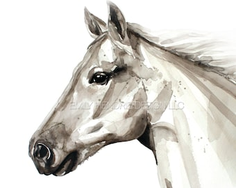 Watercolor Horse Art Print/ equestrian art /  Horse Painting/ Arabian Horse Head Part 3 for home or nursery / Horse Art / Watercolor Horse