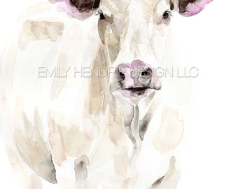 White Steer Watercolor Print / White Cow Watercolor Art Print / Farmhouse Art / Cow Art / Watercolor Cow Painting