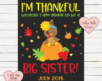 Thanksgiving Big Sister Announcement Chalkboard Printable - Turkey Pregnancy Announcement Sign - Pregnancy Reveal - We're Expecting - Fall