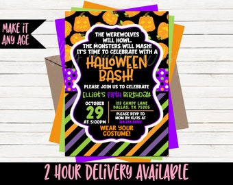 Halloween Birthday Invitation Invite Bday Costume Party Pumpkin