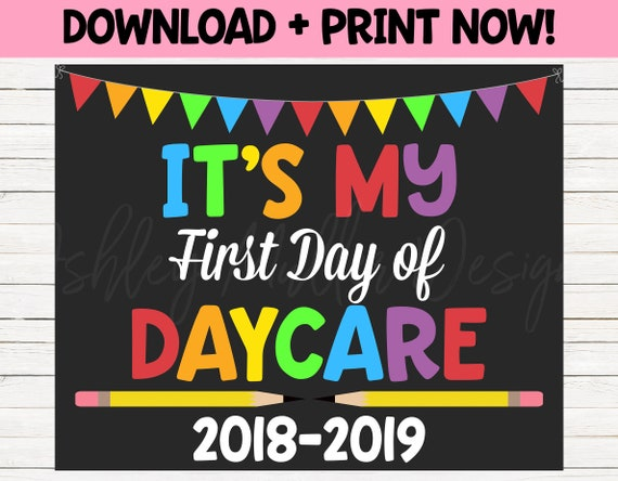 first day of daycare sign 1st day of school sign day care etsy