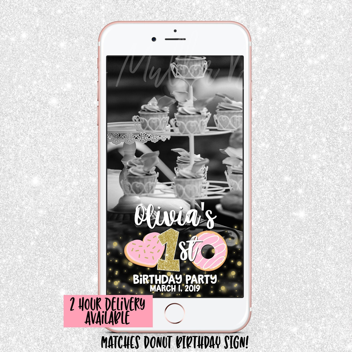 Donut Snapchat Geofilter - Snap Chat Filter Donut Party Sprinkle - first  birthday Snapchat - Snapchat Geofilter - First Birthday Pink & Gold