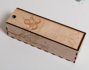 Wooden Wine Box - Single Bottle - Laser Engraved - Personalised Gift Box - Custom Wine Box - Wedding Gift - Engagement Gift