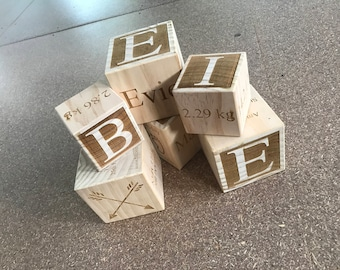 Wooden Baby Block - Engraved Baby Block - Baby Gift - Personalised Baby Block - Birth Annoucement - new baby gift - birth gift