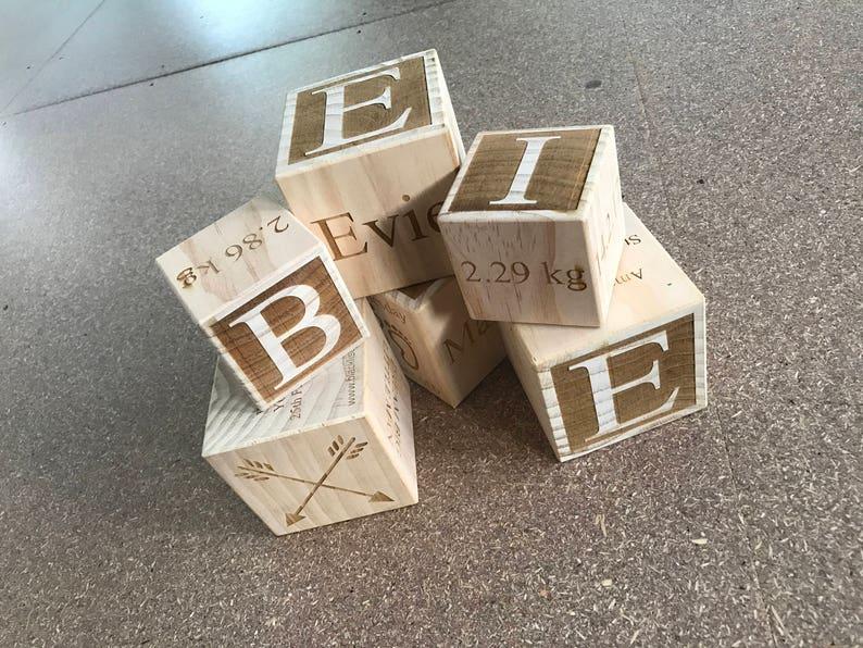 Wooden Baby Block  Engraved Baby Block  Baby Gift  image 0