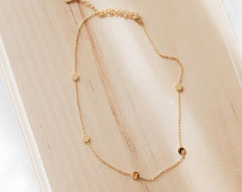 N1016 GD - Flat Disc Charm Choker, Gold or Rose Gold Circle Disc Link Necklace