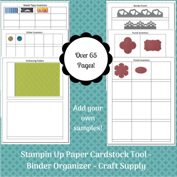 stampin up paper cardstock tool inventory tracking list etsy