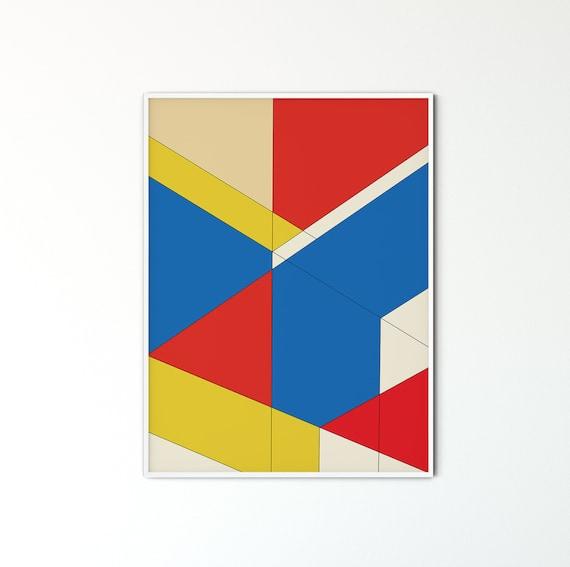 Bauhaus Poster, Blue Yellow Red Bedroom Decor, Retro Geo Art Print,  Abstract Decor, Printable Wall Art, Geometric Art Print, Retro Wall Art