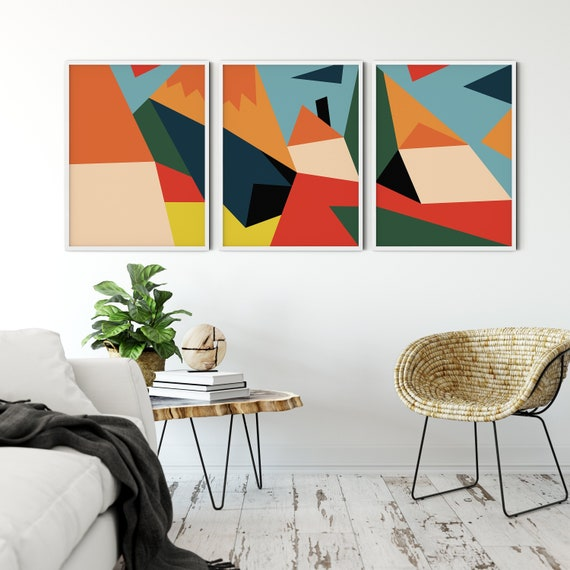 Set Of 3 Mid Century Modern Art Retro Decor Ideas Mid Century Decor Large Printable Art Mid Century Art Scandinavian Retro Wall Art