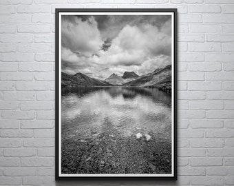 Cradle Mountain Print, Black and White, Tasmanian Photograph, Australian Scenery, Wall Art, Home Decor, Lake St Clair National Park