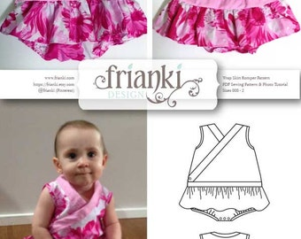 e1b2d584ca31 Baby Girl Wrap Skirt Romper - PDF Sewing Pattern and Photo Tutorial - Sizes  000 to 2 - Instant Download - Toddler Child Easy Sew Pattern