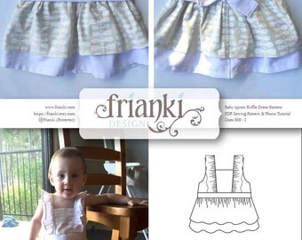 d07757fe9e1d Baby Girl Ruffled Apron Dress - PDF Sewing Pattern and Photo Tutorial -  Sizes 000 to 2 - Instant Download - Toddler Child Easy Sew Pattern
