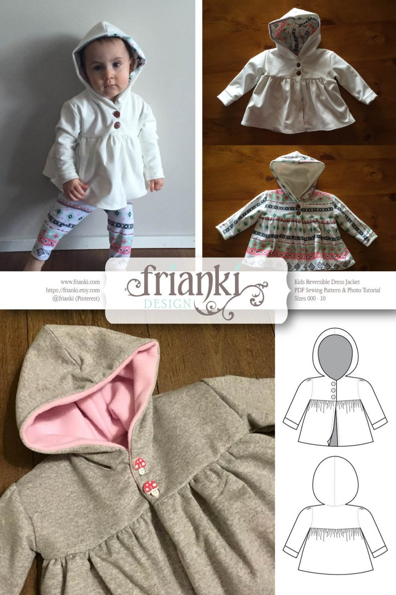 5912321ab Children s Reversible Dress Jacket with Hood - PDF Sewing Pattern and Photo  Tutorial - Sizes 000 to 10 - Baby Toddler Easy Pattern