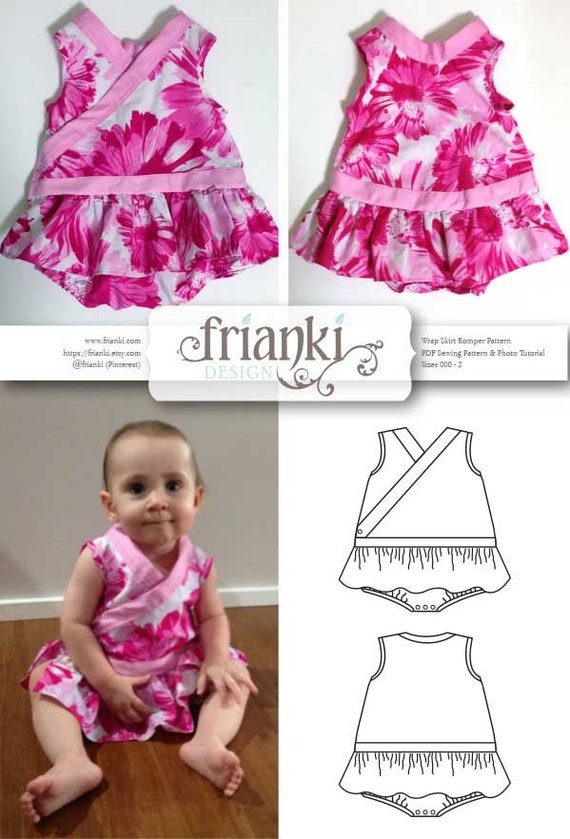 Baby Girl Wrap Skirt Romper Pdf Sewing Pattern And Photo Etsy