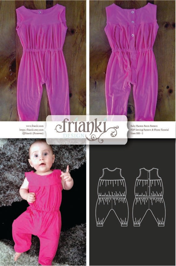 Baby Jumpsuit - PDF Sewing Pattern and Photo Tutorial - Sizes 000 to ...