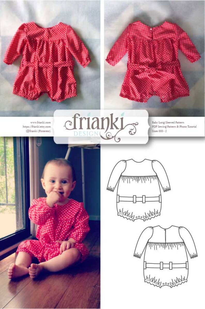 00be07cd347d Baby Girl Long Sleeved Romper PDF Sewing Pattern and Photo