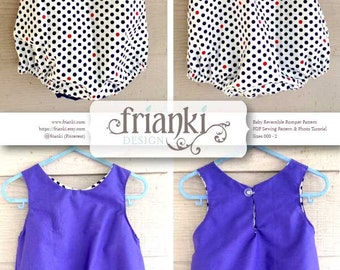 Baby Reversible Romper - PDF Sewing Pattern and Photo Tutorial - Sizes 000 to 3 - Instant Download - Kids Toddler Child Easy Sew Pattern