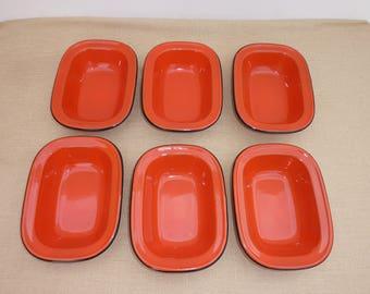 Porcelain Enamelware Orange Bake & Serve Pans / Pie Dish Set of 6 (18x13.5x4.cm)