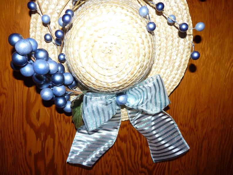 Blue wreath Wicker hat decor Wicker hat wreath. Hat wreath Easter decor