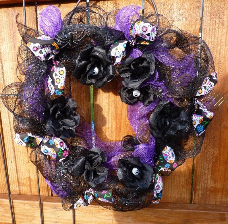 18 Deco mesh sugar skull wreath Halloween Wreath Door image 0