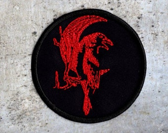 Crow against Moon Red Patch Iron to Sew on Patch Badge