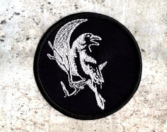 Crow against Moon White Patch Iron to Sew on Patch Badge