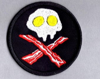 cffaaf71d83 Bacon   Eggs Patch Food Skull and Cross Bones Funny Iron Sew on Badge