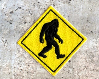 Bigfoot sasquatch crossing Patch Iron to Sew on Badge
