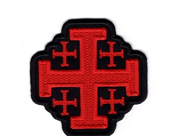 Application Embroided Patch Badges Several Colors Selectable 7.5 x 7.5 cm Color:Silver Iron on Patches Chopper Cross