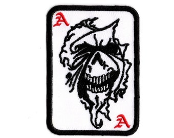 Ace of spades demon Patch in white Iron to Sew on Badge