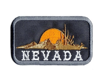 """Vintage Silverstate Nevada Las Vegas Cowboy Hat Embroidered Patch 3""""x2"""" Oval"""