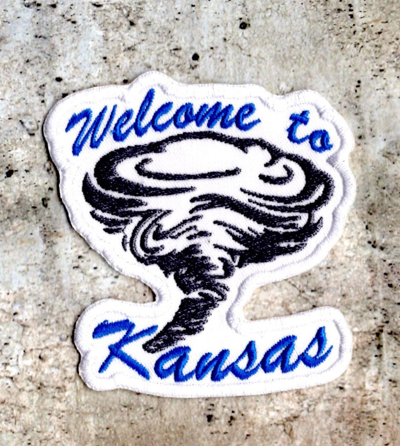 WELCOME To KANSAS Embroidered Tornado Travel Souvenir  Iron on Patch