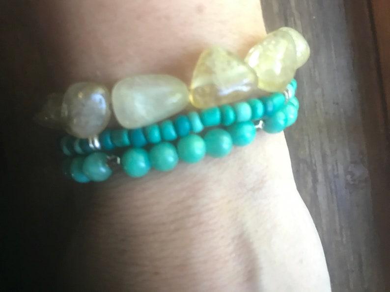 citrine jade turquoise gold stack mala bracelets with recycled sari tassel on elastic meditation intention yoga manifest boho blue yellow