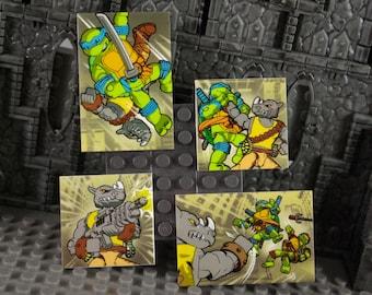 Teenage Mutant Ninja Turtles fighting Rocksteady large Fridge Magnet Handmade from Mega Bloks