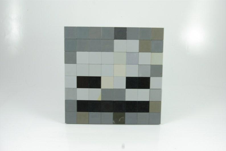 Large Minecraft Wither Skeleton Face Pixel Art Handmade From Lego Bricks And Mega Bloks