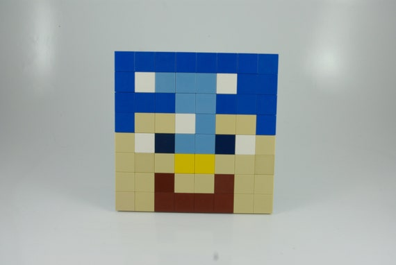 Large Minecraft Steve Wearing Diamond Armor Face Pixel Art Handmade From Lego Bricks And Mega Bloks