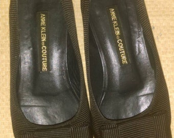 Anne Klein Couture Black Ribbed Fabric Flats with Bow Sz 6.5M