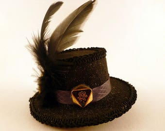 Pet Hat, Black Felt Gold Rose Button and Feather Mini Top For Small to Medium Sized Dogs or Cats, Animal Puppy Pooch Parade Canine Couture