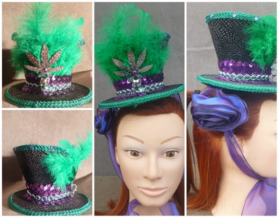 Mini Top Hat 420 Cannabis Mad Hatter Fascinator Accessory for  bfe2e90bd9b