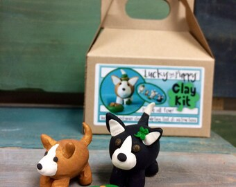 Lucky Puppy Clay Kit // Irish // Puppy Kit // clay Figurine// shamrock