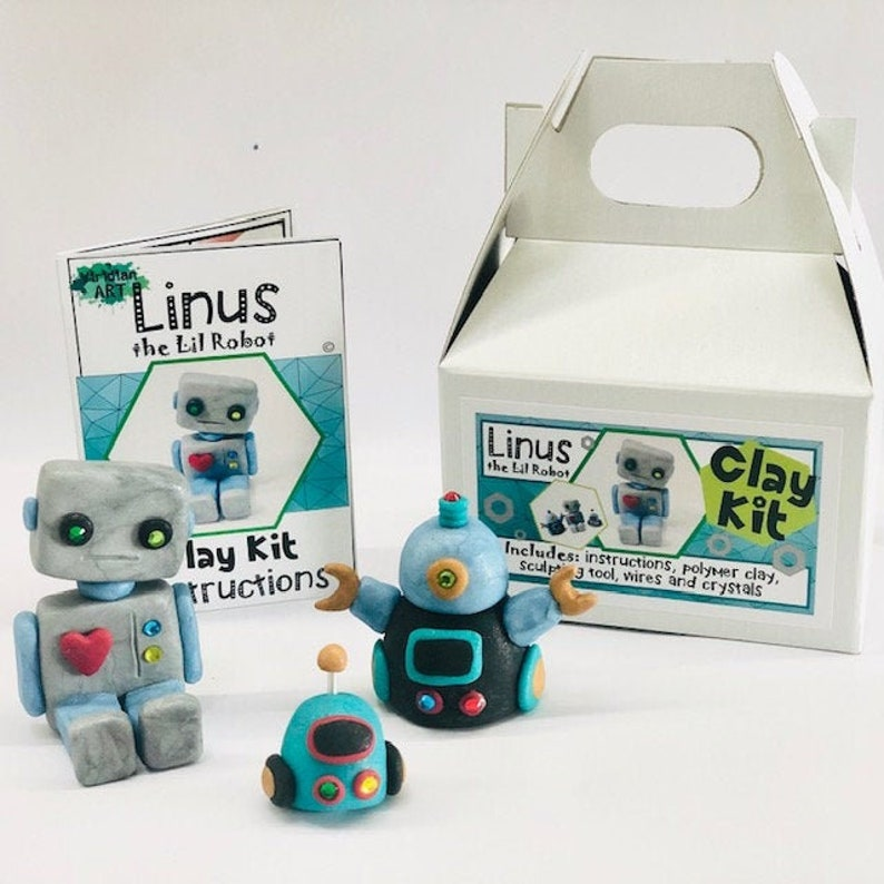 ROBOT Clay Kit// Kids Birthday Gift//Art Kit Holiday Sale & image 0