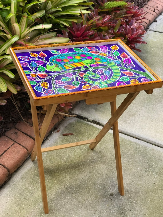 Prime Hand Painted Tv Dinner Table Happy Chameleon Interior Design Ideas Gentotryabchikinfo