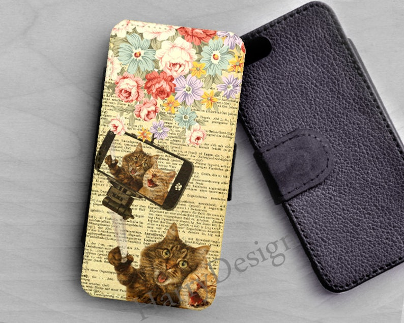 uk availability 9c660 4f8cd Happy Selfie Cats wallet case for iPhone X iPhone 8 Plus iPhone 7 6 Plus  Samsung Galaxy S9 S8 Plus S7 S6 Edge Plus Galaxy Note 8 wallet case