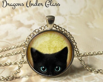"""Curious Black Cat Peeks Up Necklace - 1-1/4"""" Circle Pendant or Key Ring - Wearable Photo Art Jewelry - Animal Jewelry, Cat Lover Gift"""