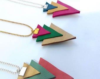 Leather minimalist triangle necklace